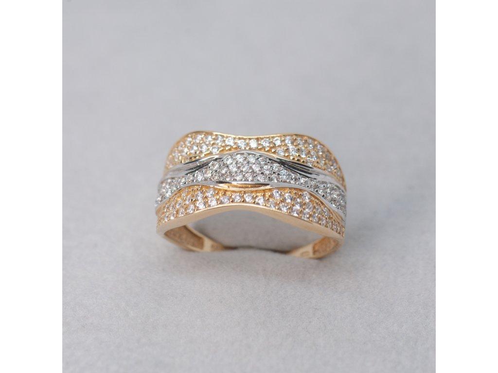 Dvoubarevný prsten se zirkony, vel. 58