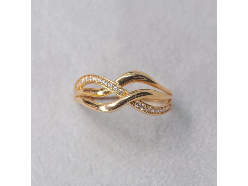Prsten s vlnkami a zirkony, vel. 55