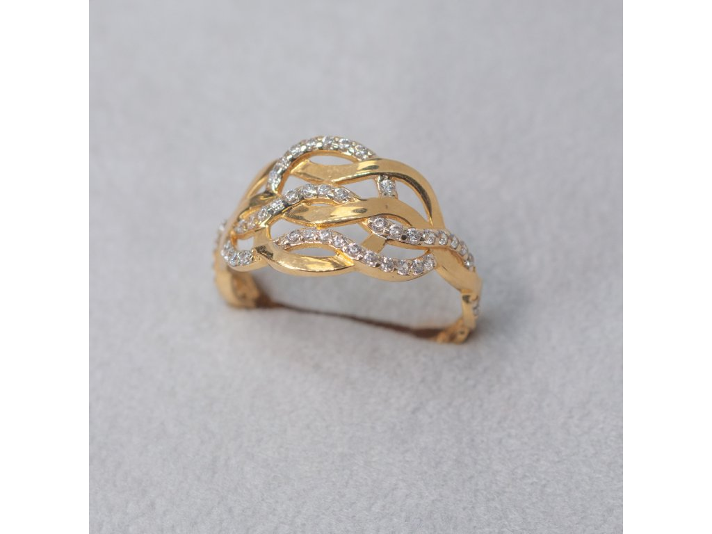 Zdobený prsten se zirkony , vel. 56