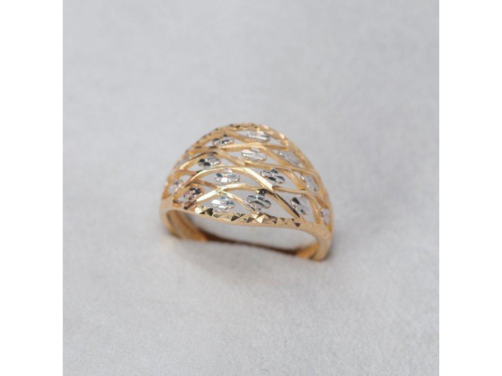 Dvoubarevný zdobený prsten, vel. 54