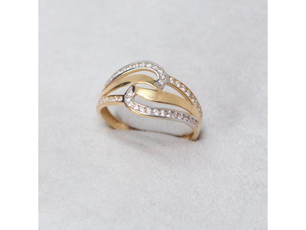 Dvoubarevný prsten se zirkony, vel. 55