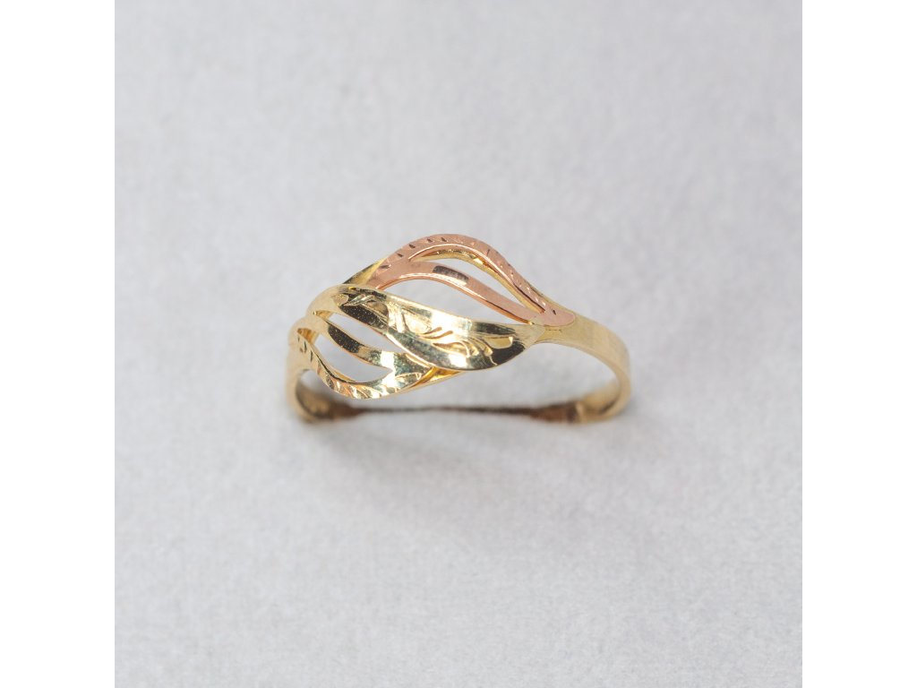 Dvoubarevný zdobený prsten, vel. 60