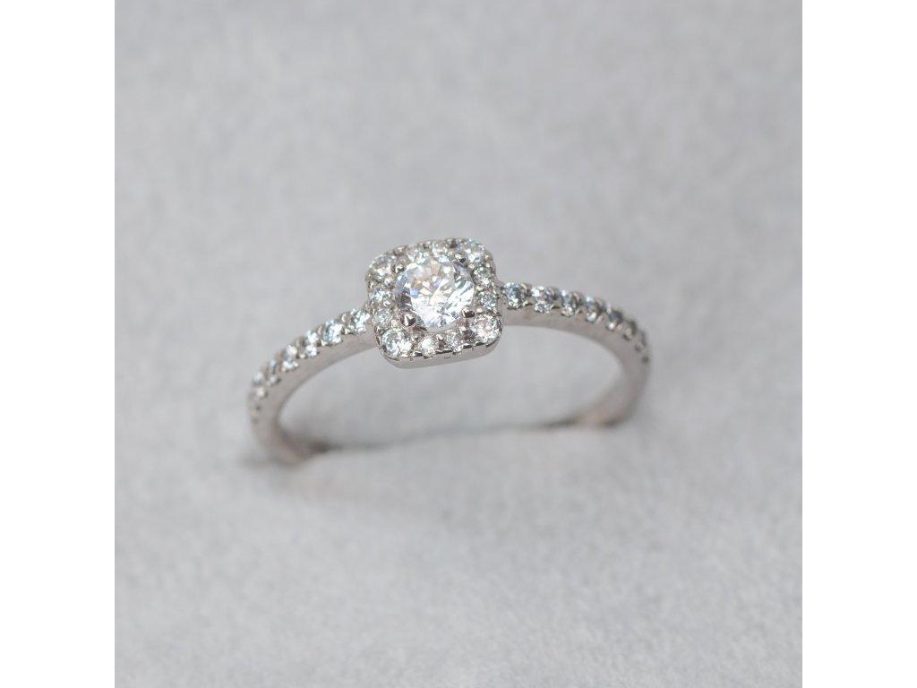 Prsten s halo se zirkony, vel. 53