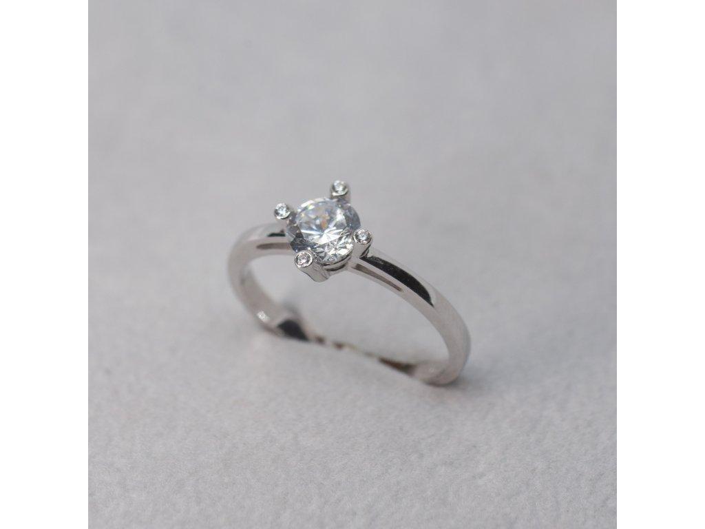 Prsten se zirkony na krapničkách, vel. 54