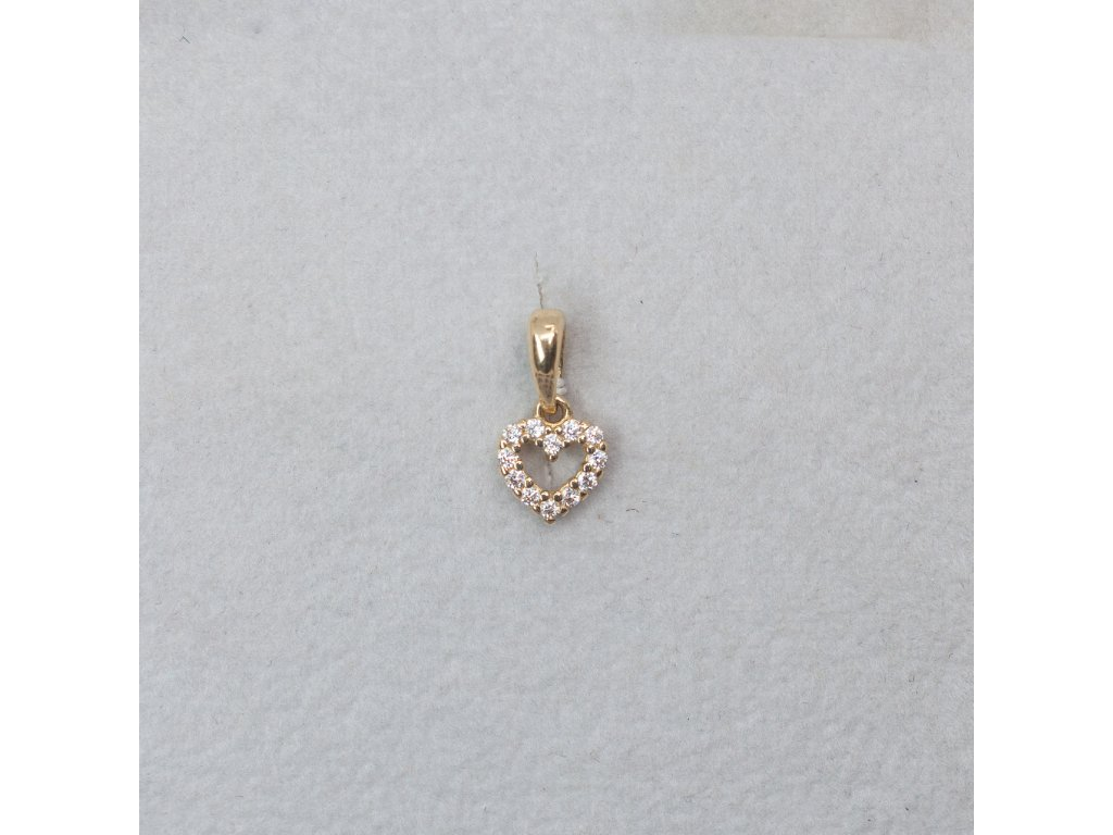 Zlatý přívěsek - drobné srdíčko se zirkony