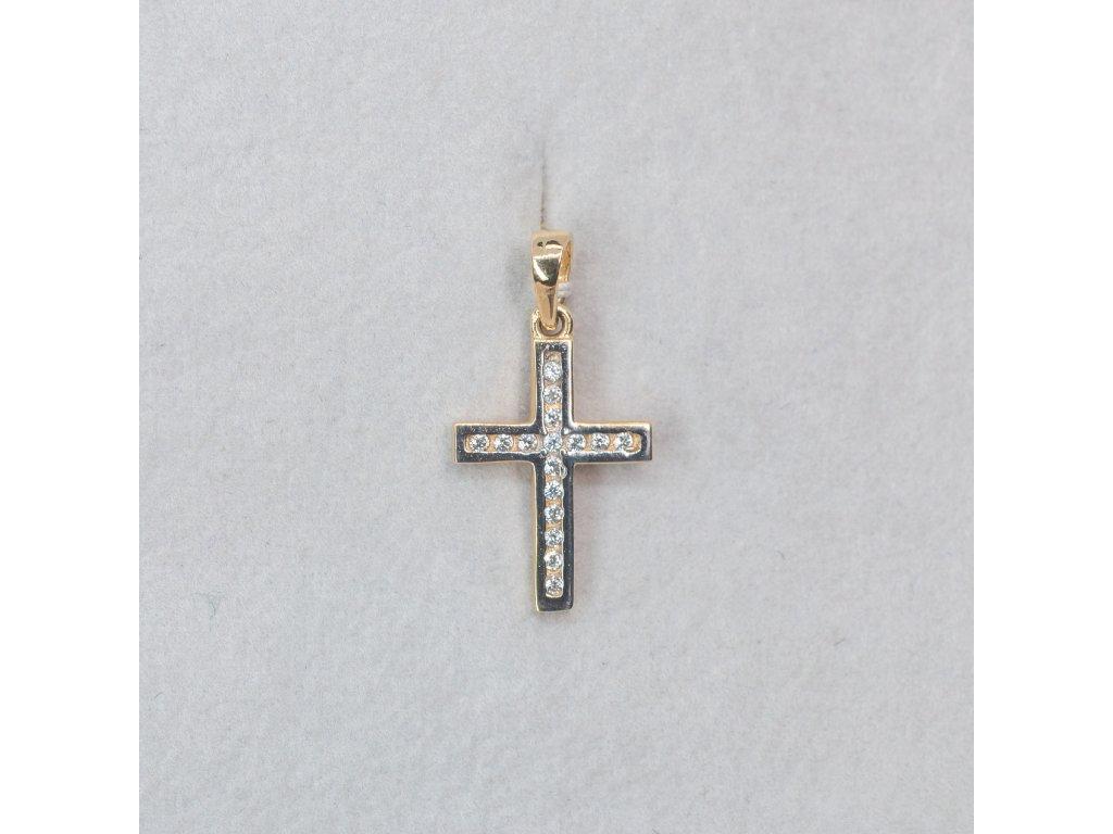 Dvoubarevný přívěšek křížek se zirkony