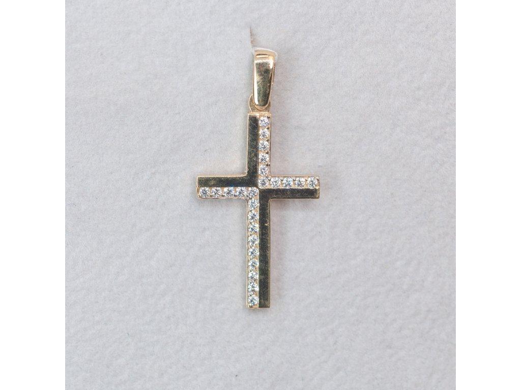 Přívěšek zlatý křížek se zirkony
