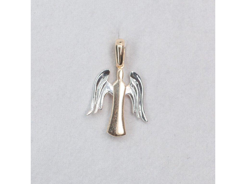 Dvoubarevný zlatý anděl přívěšek
