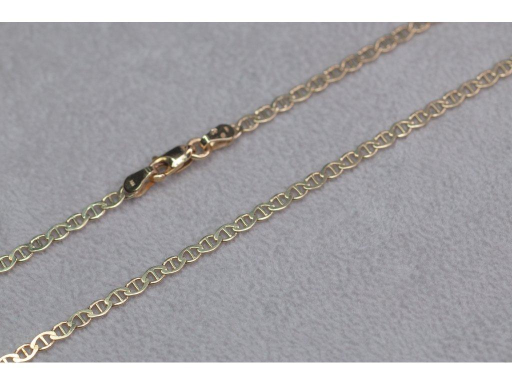 Zlatý řetízek s karabinou, délka 45 cm
