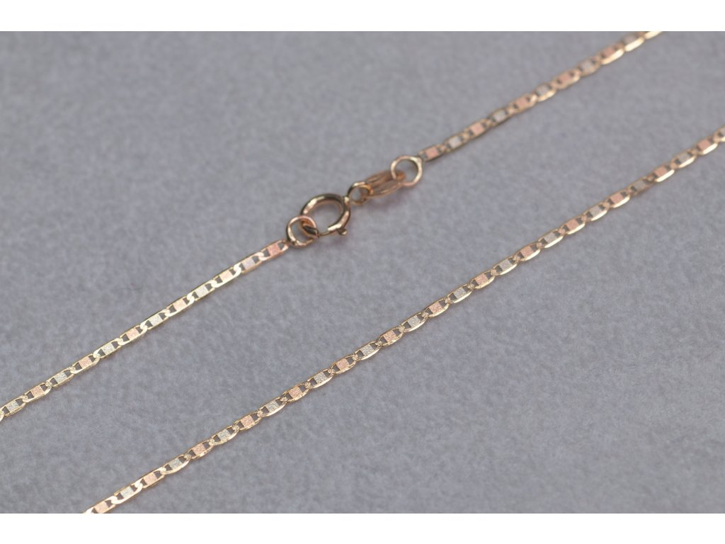 Dvoubarevný zlatý řetízek, délka 45 cm