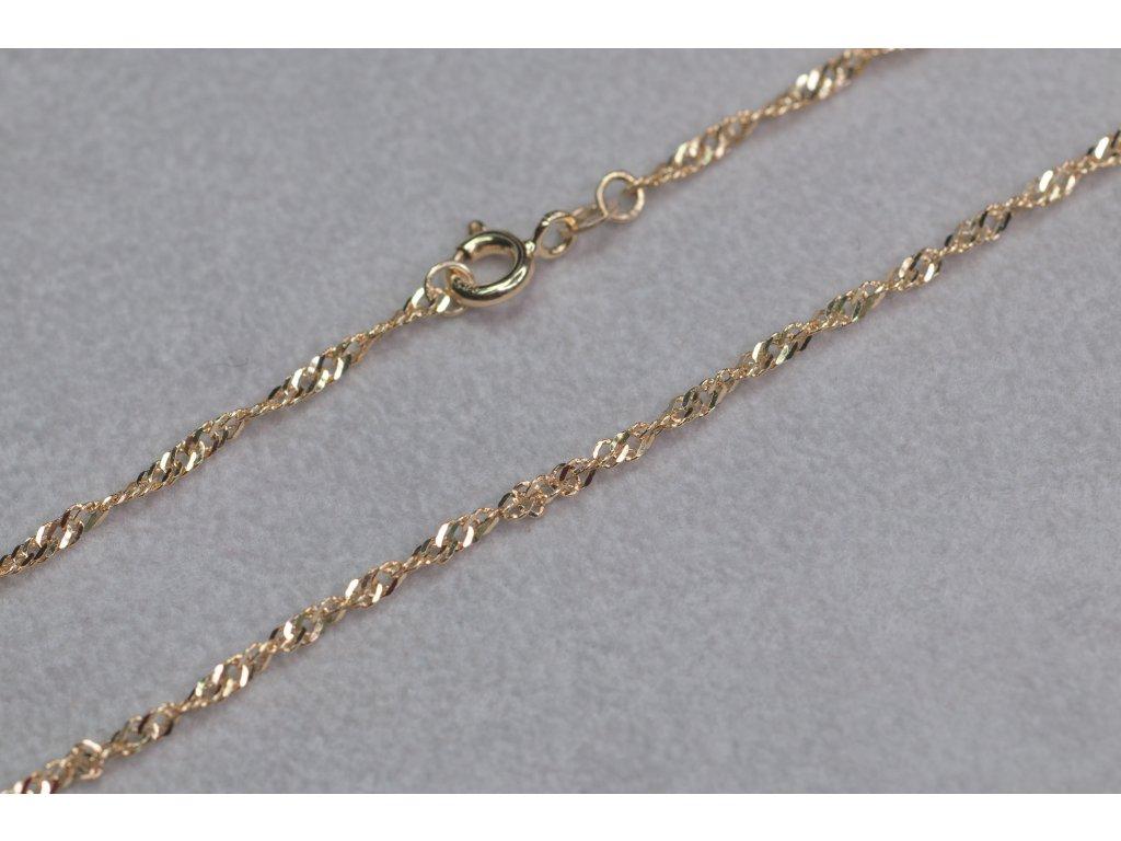 Zlatý točený řetízek, délka 45 cm