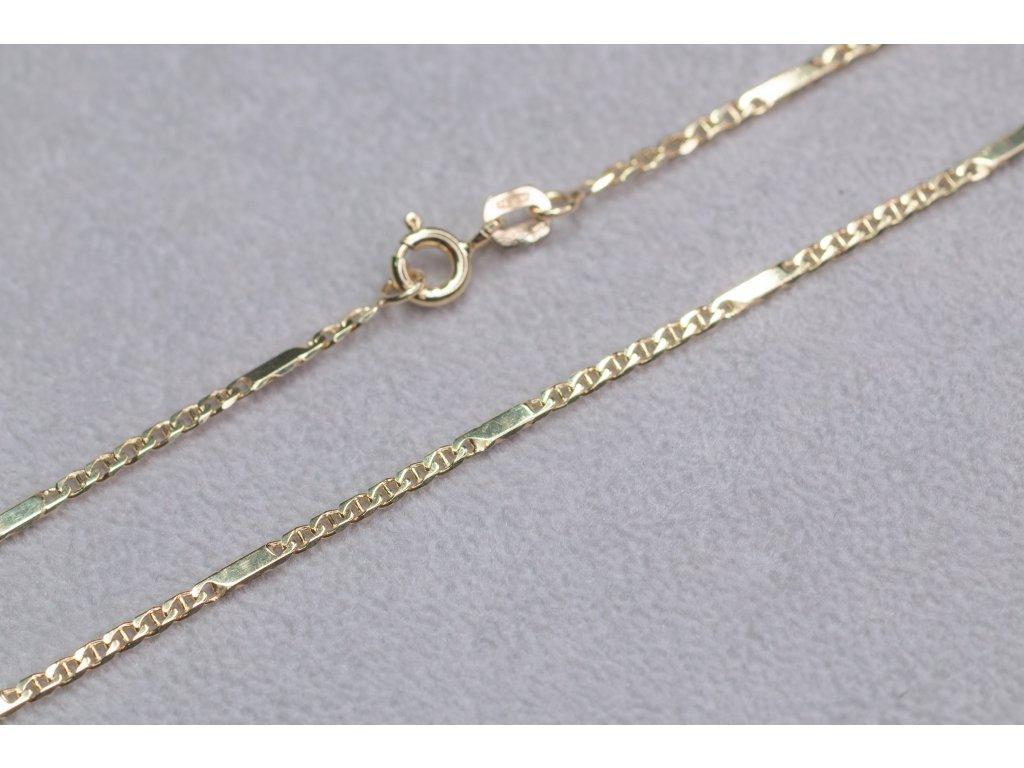 Zlatý řetízek s destičkami, délka 50cm