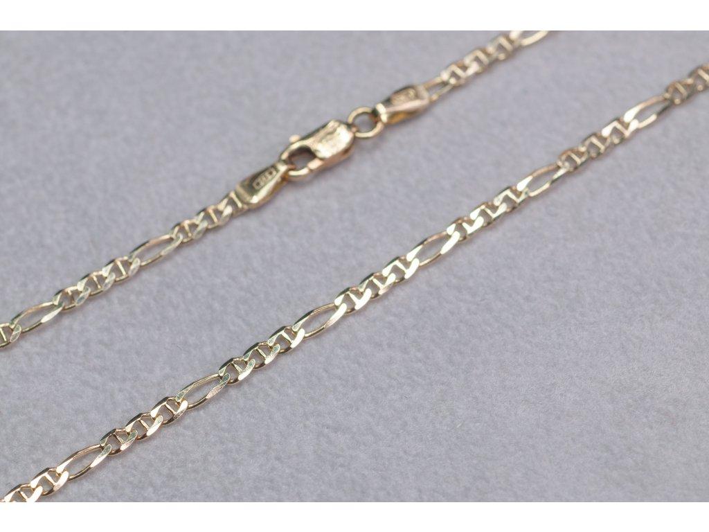 Zlatý řetízek s očky a karabinkou, délka 50 cm