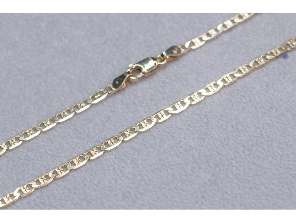 Zdobený zlatý řetízek, délka 50 cm