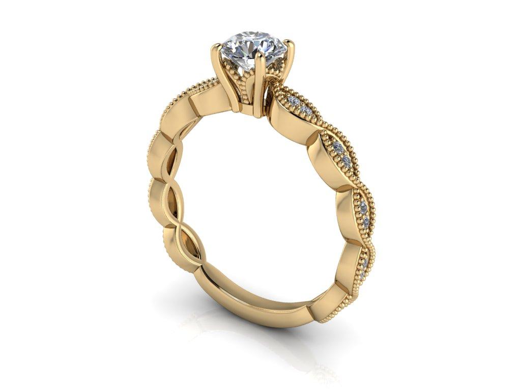 zasnubni prsten INFINITY zlute zlato 5mm zlatnicke studio salaba zlatnictvi