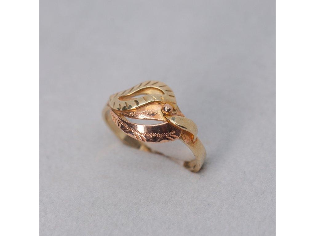 Dvoubarevný zlatý prsten, vel. 54