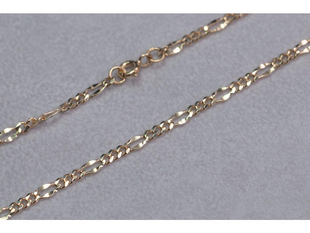 Zlatý řetízek s očky, délka 42 cm