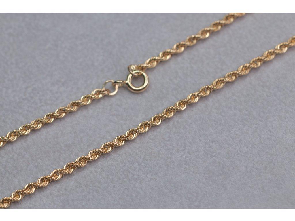 Točený zlatý řetízek, délka 42 cm
