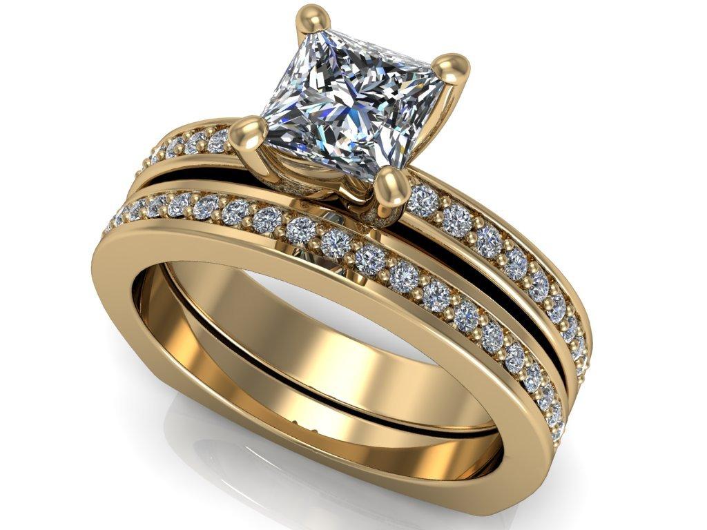 komplet zásnubní a snubní prsten Frances