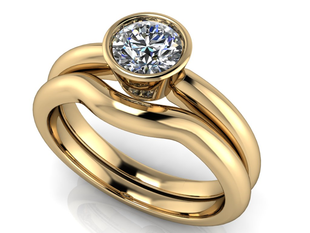 komplet snubni a zasnubni prsten ODESSA zlute zlato 5mm zlatnicke studio salaba zlatnictvi