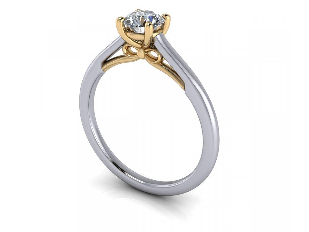 zasnubni prsten BOW bicolor bile a zlute zlato 5,00mm s diamantem zlatnicke studio salaba zlatnictvi