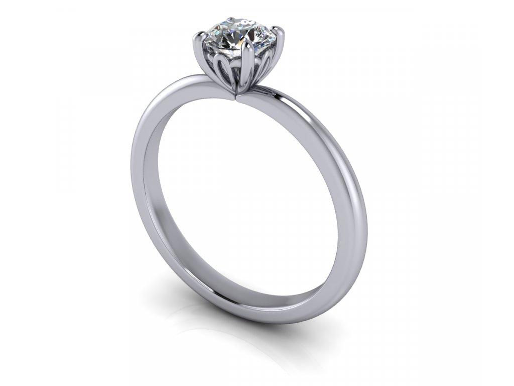 zasnubni prsten CARRIE s lab grown diamantem moissanitem bile zlato 5,00mm zlatnicke studio salaba zlatnictvi
