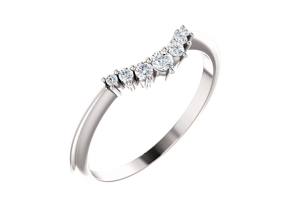 tvarovaný snubní prsten s moissanity dámský CROWN zlatnictvi salaba zlatnicke studio
