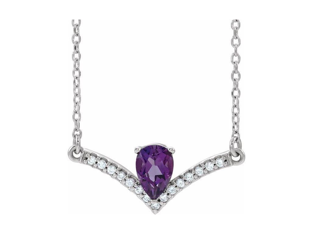 diamantový náhrdelník s ametystem Vivianne bílé zlato zlatnictví salaba zlatnické studio