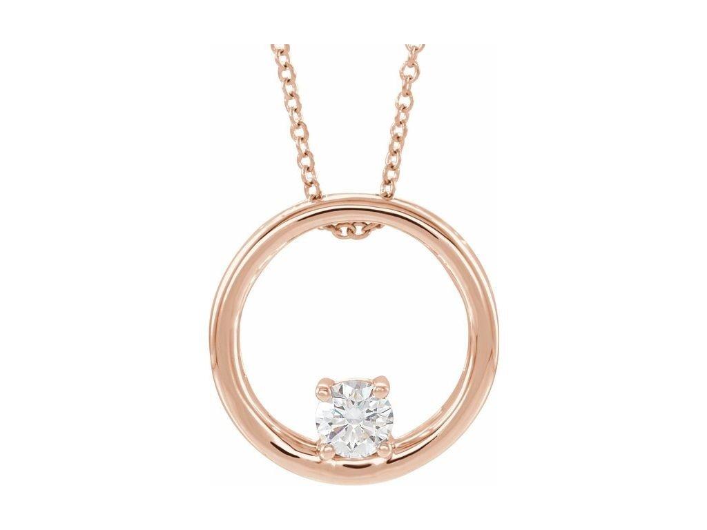 náhrdelník OLEEN 86689 růžové zlato s laboratorním moissanitem zlatnicke studio salaba zlatnictvi