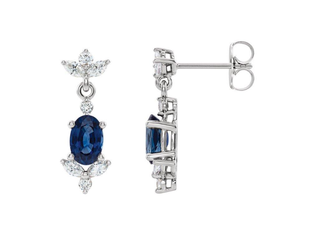 luxusní náušnice VICTORIA safír diamanty bíle zlato zlatnictvi salaba zlatnicke studio
