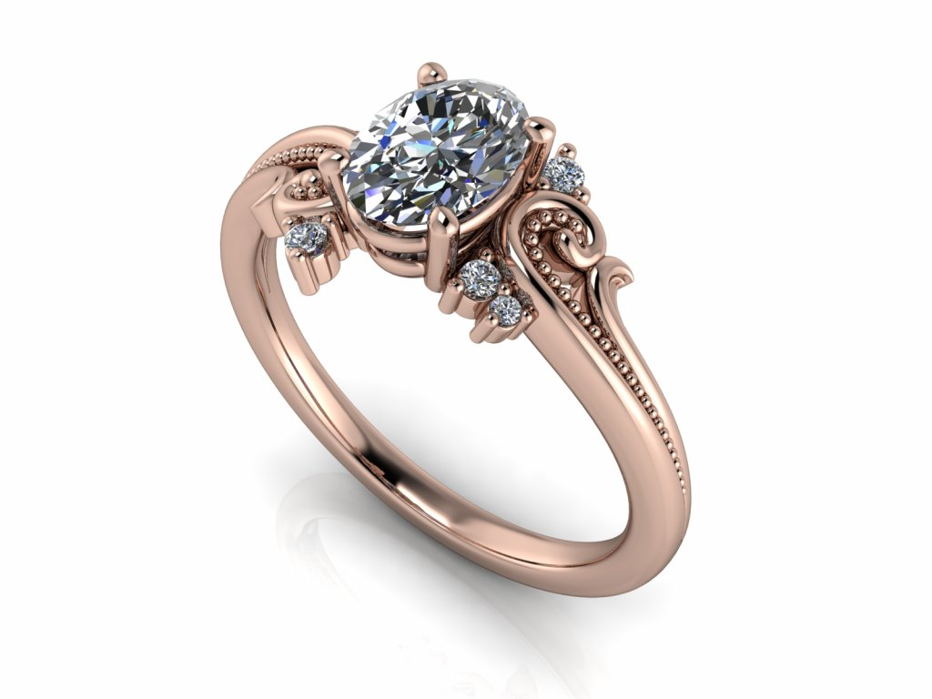 zasnubni prsten VENICE s lab grown diamantem moissanitem ruzove zlato OVÁL výbrus 7x5,00mm zlatnicke studio salaba zlatnictvi