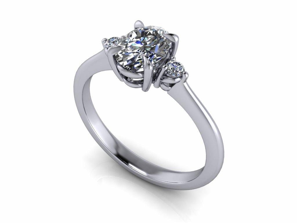 zasnubni prsten TESS s lab grown diamantem moissanitem bile zlato slza výbrus 7x5,00mm zlatnicke studio salaba zlatnictvi