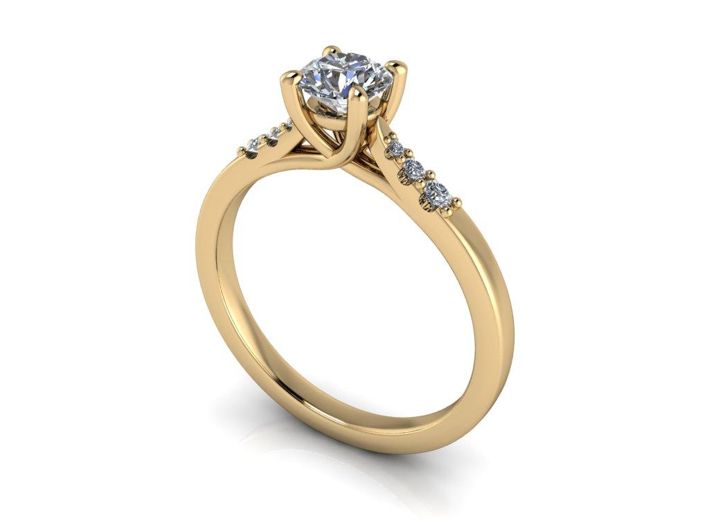zasnubni prsten LUCY zlute zlato 5mm zlatnicke studio salaba zlatnictvi