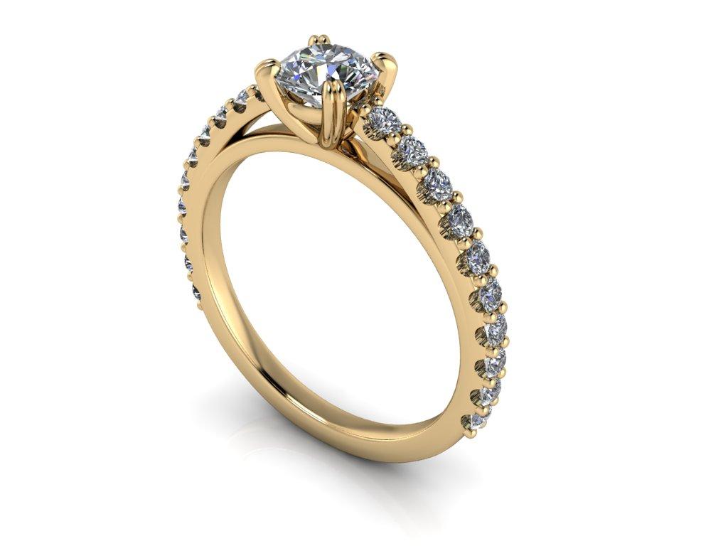 zasnubni prsten CORA zlute zlato 5mm zlatnicke studio salaba zlatnictvi