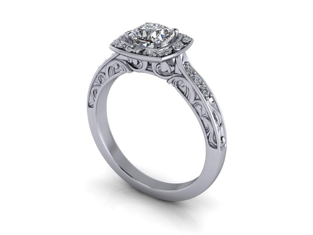 zasnubni prsten HARLOW bile zlato 5x5mm zlatnicke studio salaba zlatnictvi