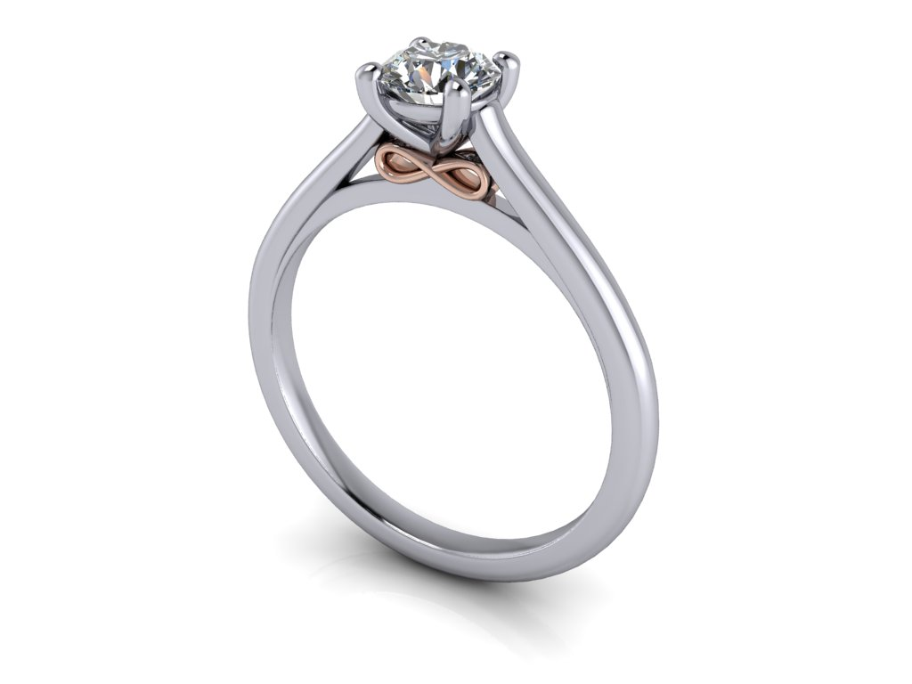 zasnubni prsten FOREVER bile ruzove zlato bicolor 5,00mm zlatnicke studio salaba zlatnictvi