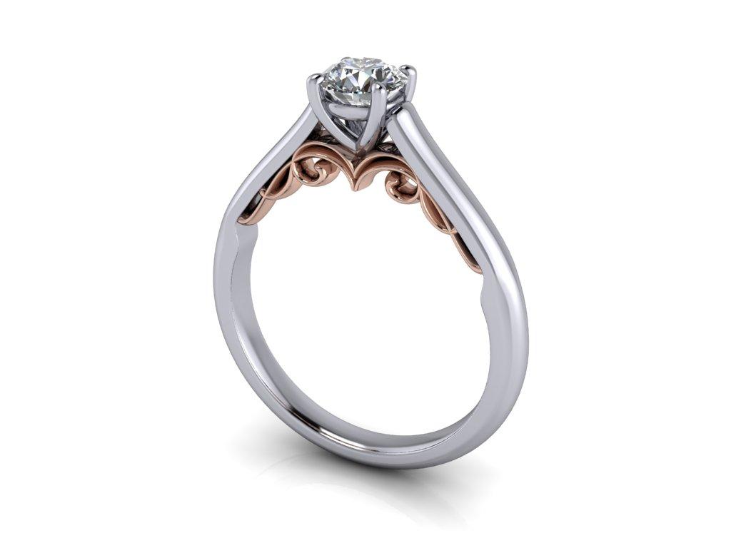 zasnubni prsten VICTORIA bicolor bile ruzove zlato 5.00mm zlatnicke studio salaba zlatnictvi