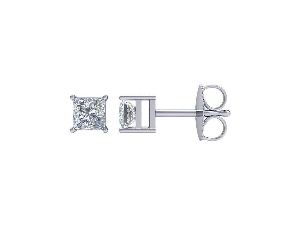 náušnice princess_66231 bile zlato diamant 1,00ct princess zlatnicke studio salaba zlatnictvi