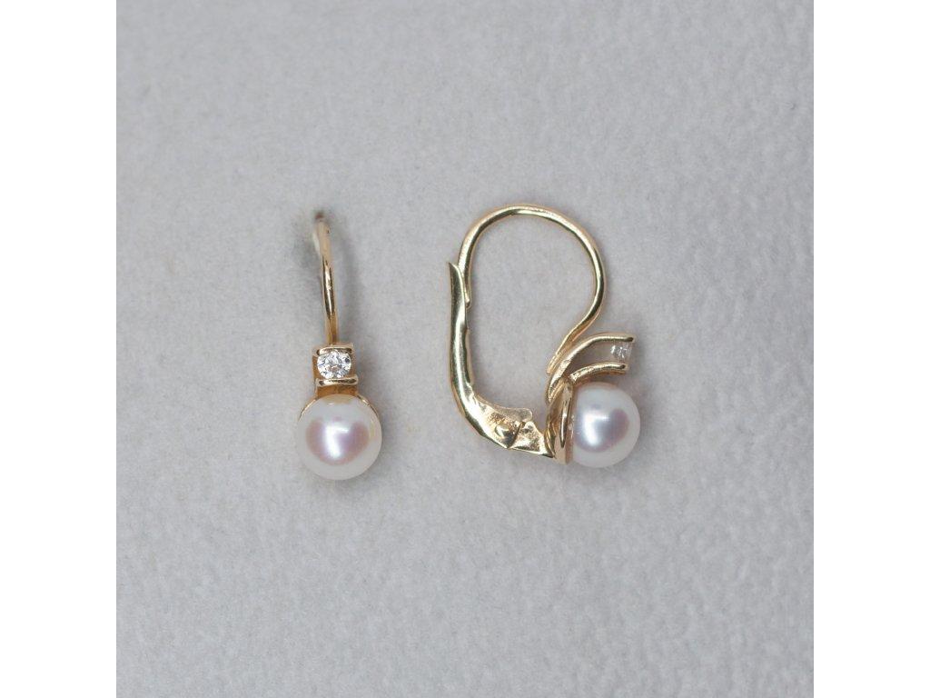 Náušnice s perlou a zirkonem