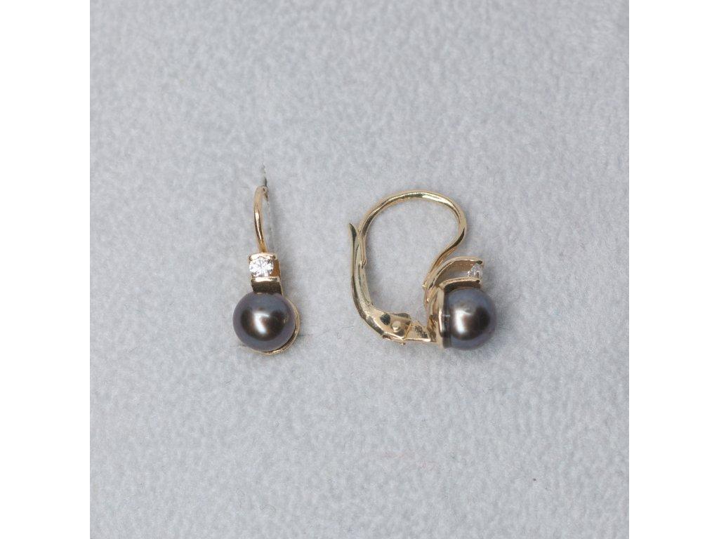 Náušnice s černou perlou a zirkonem