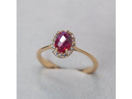Prsten se syntetickým rubínem, vel. 54