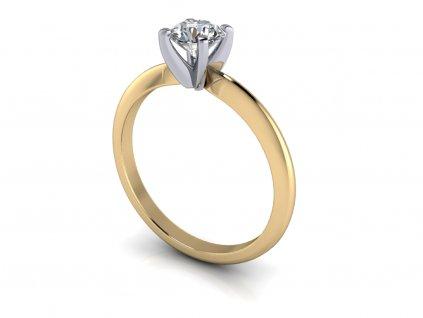 zasnubni prsten DITA bicolor bile zlute zlato 5mm zlatnicke studio salaba zlatnictvi