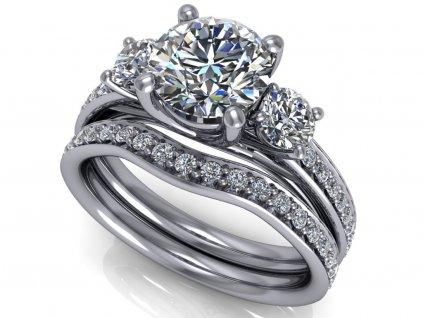 komplet zásnubní a snubní prsten Clara