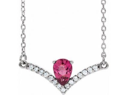 diamantový náhrdelník s růžovým turmalínem Vivianne bélé zlato zlatnictví salaba zlatnické studio