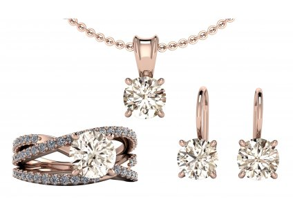 Komplet šperků JASMINE s diamanty Light Brown