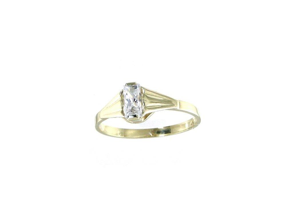 Zlatý prsten s bílým zirkonem