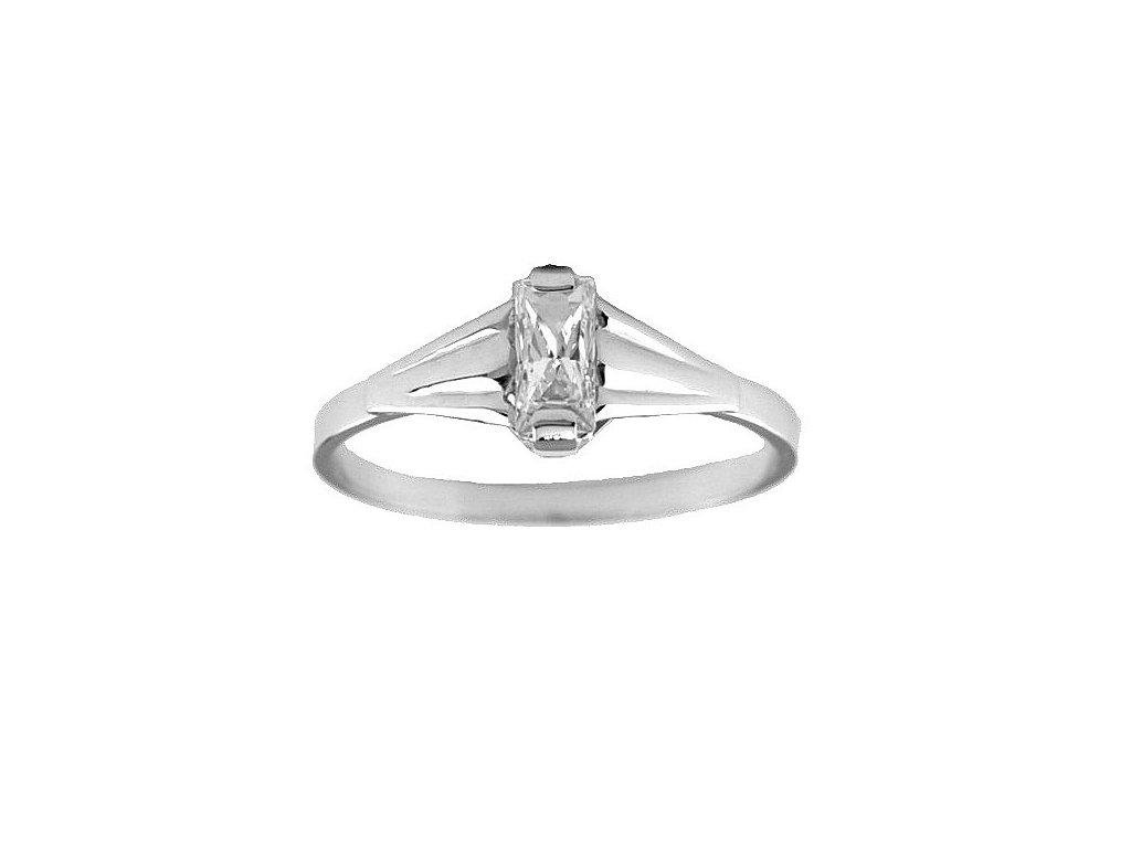Zlatý prsten z bílého zlata se zirkonem