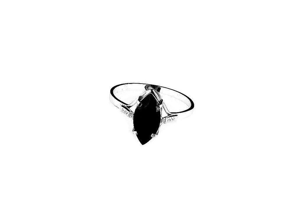 Zlatý prsten Onyx bílé zlato
