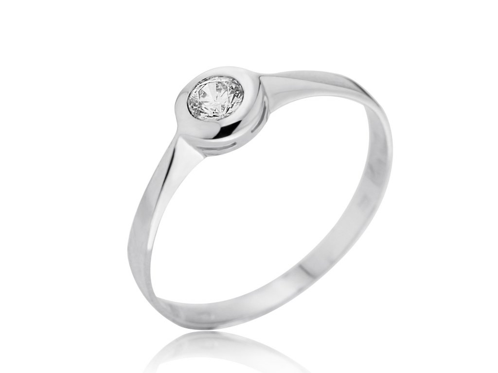Zlatý prsten z bílého zlata