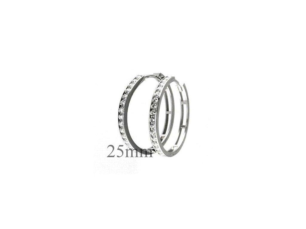 Náušnice kruhy z bílého zlata + bílé zirkony 25mm